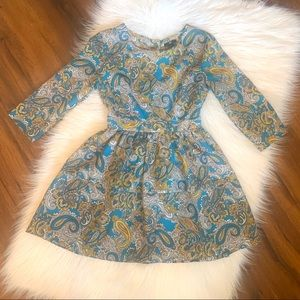 H&M Teal & Yellow Paisley Fit & Flare Dress Sz 6
